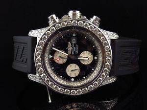 Custom Mens XL Breitling Super Avenger Aeromarine 48MM Steel Diamond Watch 21 Ct