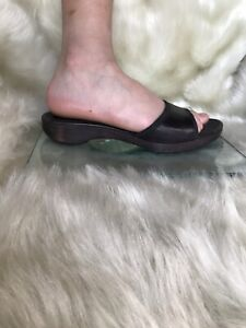 Gucci  black leather, wooden sole,slip on shoes. Size 38