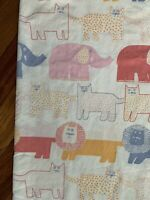 JP Stevens Utica Vintage Sheet 80s Animals Elephant Lion Cat Made USA Flat Twin