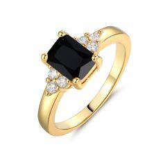 Fashion Women Gold Filled Signet Black Onyx Gemstone Wedding Rings Sz4.5-8.5