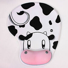 Comfy Cute Cow Anti-Slip Mouse Pad Mat w/ Gel Wrist Support f/PC Macbook Laptop