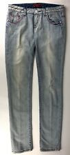 REROCK for Express Womens Jeans SKINNY Light Wash Bleached Pink Stitch 6 / 30x33