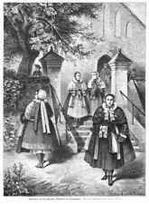 Weizacker, Pyritz, Polen, Frauen in Tracht,, Original-Holzstich von ca. 1885