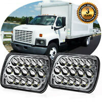 "2pcs Chrome 7X6"" LED Headlights Fit GMC C6500 C5500 Chevrolet S10 Corvette Truck"