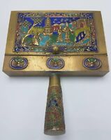 Antique Chinese Cloisonne Silent Butler / Crumb Catcher Enamel & Brass China