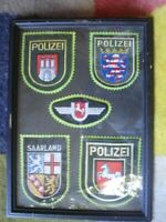 S/H 5 X FRAMED GERMAN POLIZEI ( POLICE ) PATCHES 32 X  23 CM SAARLAND ORIGINAL