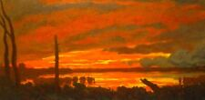 Fire In The Sky American Pastoral Oil Painting Landscape Signed Art New Original