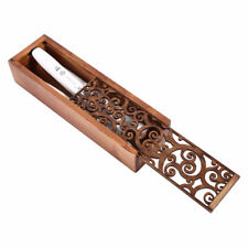 1pc Retro Hollow-carved Pen Pencil Case Stationery Beads Wooden Storage Box