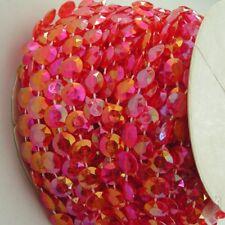 1m Rot/irisierend Girlande Hochzeit Deko Perlenvorhang Strang Perlen