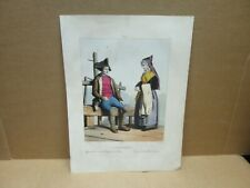 PYRENEES ancienne gravure couleur paysan bagnère Luchon Femme Vallée du Louvon