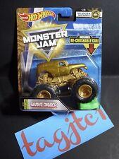 Hot Wheels Monster Jam MJ Golden Machines - 2018 New Look Grave Digger...Str#14