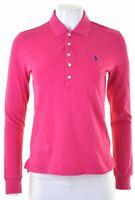POLO RALPH LAUREN Womens Polo Shirt Long Sleeve Size 14 Large Pink Cotton  EQ46