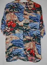 Vintage Jacques Carpentier Mens Hawaiian Shirt Guitars Tropical Beach Blue Tan L