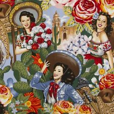 LAS SENORITAS~Alexander Henry~ Mexican Pin Up Girls~Fabric~ per half yard