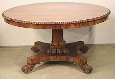 Rare antique 1820's Regency Brazilian rosewood dining table seats 6-8 original