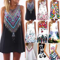 Women Sleeveless Summer Boho Printed Beach Casual Loose Beach Mini Shirt Dress