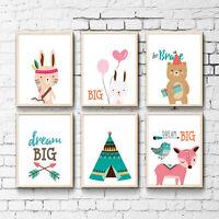 Nursery Cartoon Animal Lion Rabbit Canvas Art Poster Children Room Decoration