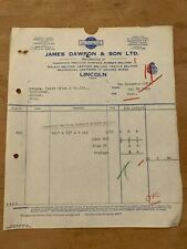 WW2 6 NOV 1939 JAMES DAWSON & CO (LINCOLN) INVOICE FOR RUBBER BELTING
