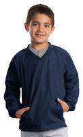 Sport-Tek Youth Rib Knit V Neck Collar Long Sleeve Polyester Casual Shirt. YST72