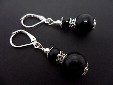 A PAIR OF BLACK ONYX SILVER PLATED DROP DANGLY LEVERBACK HOOK EARRINGS. NEW.