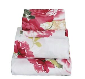 Beautiful Soft Breathable 4 pcs Bedding Sheet Set Very Pink Floral