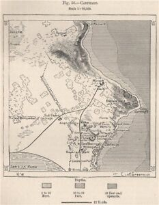 Carthage. Tunisia 1885 old antique vintage map plan chart