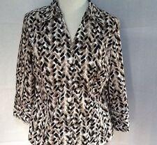 Brown Alfani Black White print button down blouse size 8