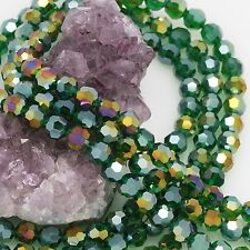72 pcs 8mm Chinese Crystal Glass Loose Beads Round Faceted Dark Green with AB