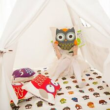 Kids Teepee Canvas Playmat Triple Layered Cotton Mat with Antiskid Backing