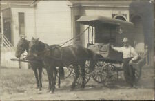 Horse Drawn Wagon & Man Holding Basket c1910 Real Photo Postcard dcn