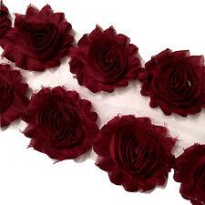 "1 yard burgundy 2.5"" shabby chiffon rose trim fabric flowers DIY baby headband"