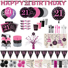 21st Birthday Decorations Girls Female Pink Tableware Plates Cups Napkins