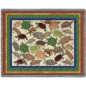 New Turtles Heavy Afghan Woven Cotton Throw Blanket Green Turtle Painted Box NIP