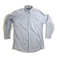 Tommy Hilfiger Blue White Plaid Button Down Up Long Sleeve Shirt 15-1/2 32-33