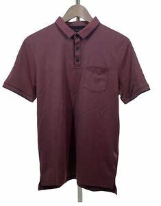 John Varvatos Star USA Mens Polo Shirt Sz Small Red Maroon 3 Button Pocket NEW