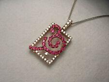 Gorgeous Estate 18K Pink Rose Gold Diamond Sapphire Pendant Slide