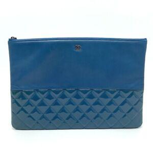 CHANEL Matelasse Lambskin Leather Enamel Clutch bag Lambskin Leather blue