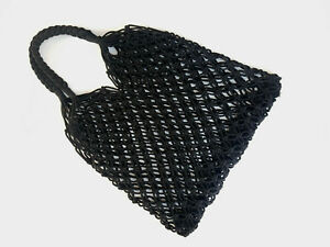 Hand Made Eco-Friendly Black Macrame Hemp String Hand Bag Knitted Tote
