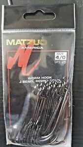 Matzuo J Bend, Round Bend Worm Hook 107012-4/0 Black Chrome Qty 25