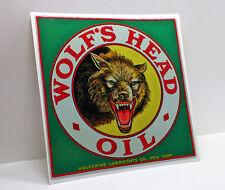 WOLF'S HEAD OIL Vintage Style DECAL, Vinyl STICKER, rat rod, hot rod, car racing