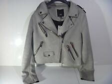 RIVER ISLAND FAUX SUEDE BIKER JACKET GREY  DOUBLE ZIP UK 18 NEW SOLD OUT