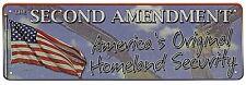 "10.5"" x 3.5"" Tin Metal Sign Wall Flag 2nd Amendment Americas Original Security"