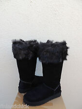 UGG ROSANA TALL BLACK SUEDE SHEEPSKIN TOSCANA CUFF BOOTS, US 7/ EUR 38 ~ NEW