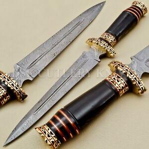 BEAUTIFUL CUSTOM HAND MADE DAMASCUS STEEL HUNTING DAGGER KNIFE HANDLE BULL HORN