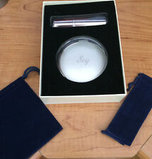 Beautiful Silver Compact Mirror W/Perfume Atomizer,Pouches, In A Gift Box