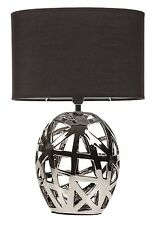 Art Deco Modern Style Geo Cut Out Chrome Base Black Oval Shade Table Lamp