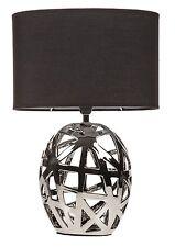 Estilo Art Deco Moderno Geo Cortado Base Cromo Negro Cortina oval Lámpara De Mesa Nuevo