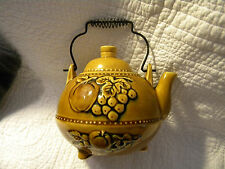 Vintage Royal Sealy Teapot, Gold Floral Fruit, Wire Handle, Japan