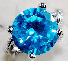 4CT Aquamarine & White Topaz 925 Solid Sterling Silver Ring Jewelry Sz 8, T6-14