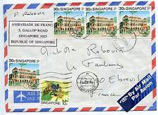LETTRE / AMBASSADE DE FRANCE SINGAPORE / EBREUIL 1992 / AIR MAIL / PAR AVION